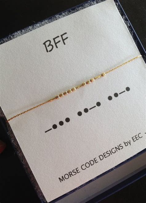 bff morse code necklace  sterling silver   gold