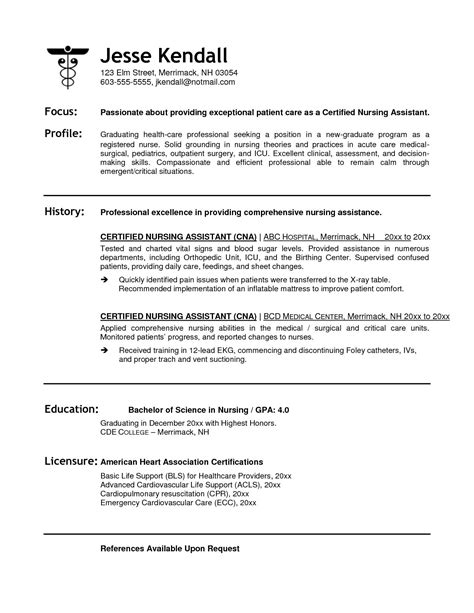 certified nursing assistant resume objective ideas for