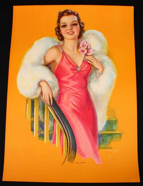 Antique 1930s Jules Erbit Pin Up Print Art Deco Fur Clad