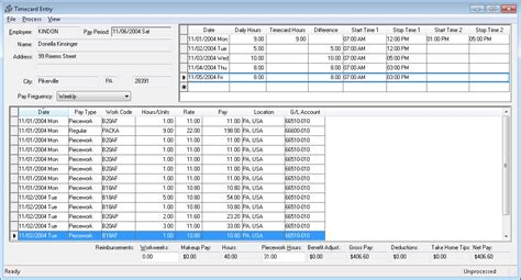 Entering Piecework Pay Into The Timecard