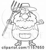 Farmer Clipart Pitchfork Cartoon Anger Angry Coloring Waving Plump Thoman Cory Vector Outlined Royalty Rf Illustrations Clipartof sketch template