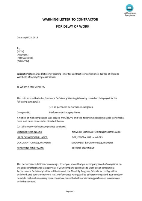 Warning Letter To Contractor For Delay Of Work   Templates