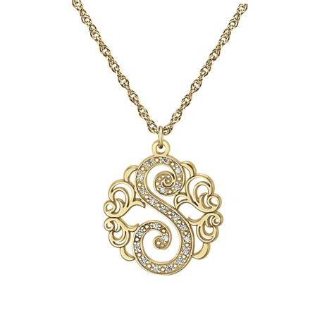 Single Initial Diamond Necklace 20mm Personalized Jewelry