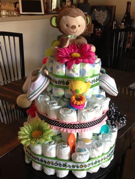 diaper cake  unknown gender twins baby shower ideas
