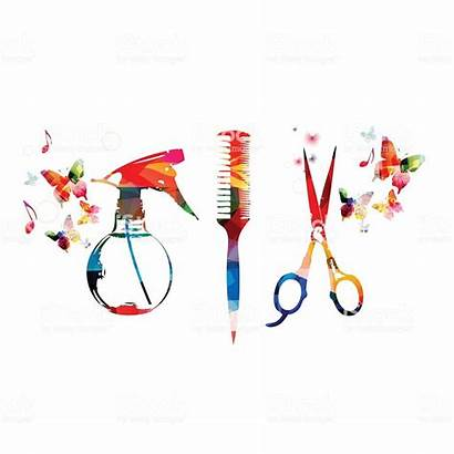 Tools Background Scissors Comb Hairdressing Colorful Salon