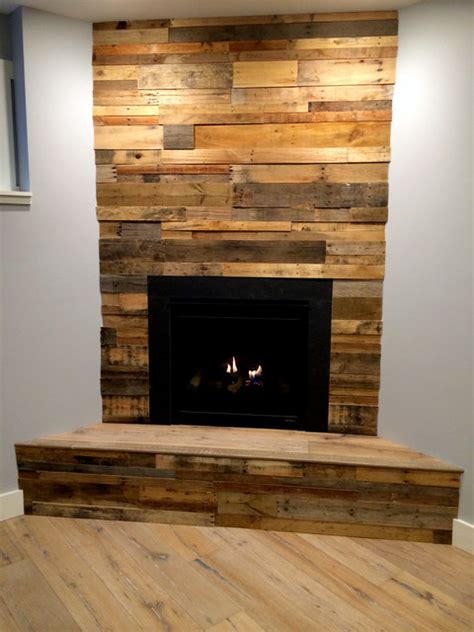 prefabricated kitchen island recycled pallet and reclaimed wood paneling rustic family room