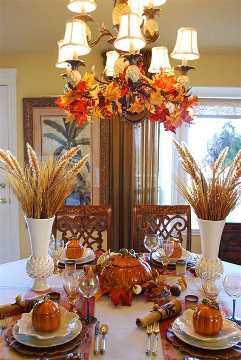 beautiful wheat centerpiece  pumpkin tureens