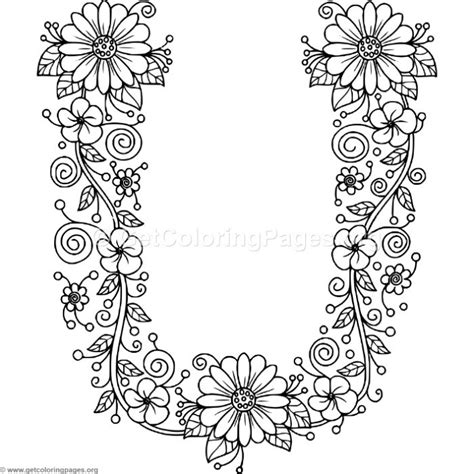floral alphabet letter  coloring pages getcoloringpagesorg