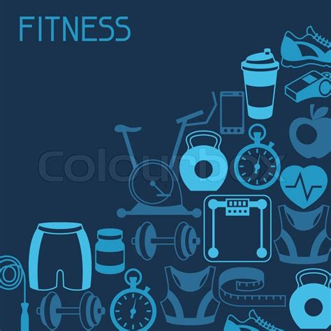 Fitness Background Sports Background With Fitness Icons In Flat Style