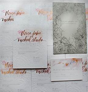 a peek into the studio rose gold foil and blind With rose gold winter wedding invitations
