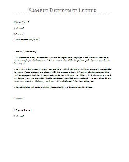 sample reference letter reference letter template  job