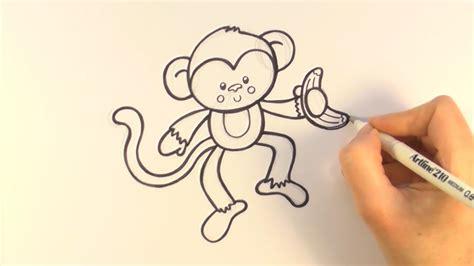 draw  cartoon monkey holding  banana youtube