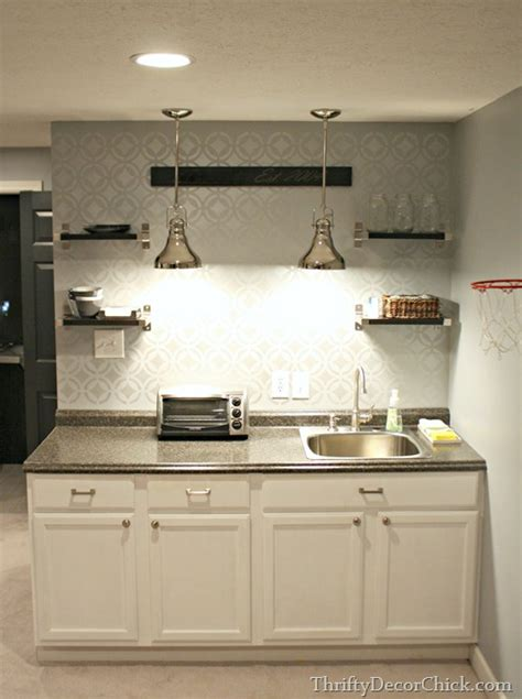 finished basement kitchenette  thrifty decor chick