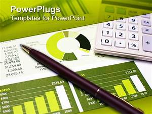 PowerPoint Template: a pen on a financial report along ...