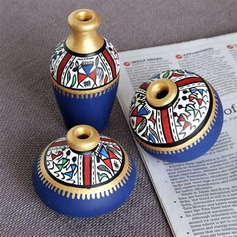 pot designs ideas maati designs blue earthen miniature pots set of three