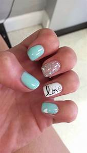 Blue summer gel nails love nail