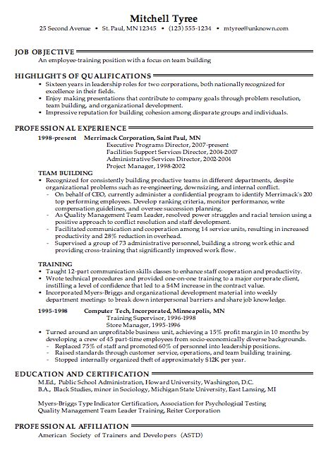 Employee Resume Format by Combination Resume Sle For Employee Teaching