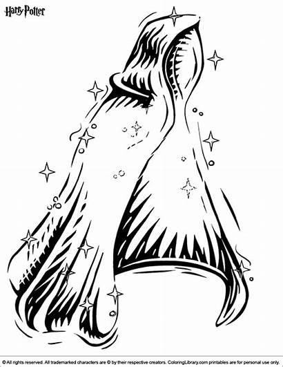 Potter Harry Coloring Pages Cloak Cartoon Clip