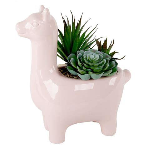 pink llama planter  faux succulents  crown