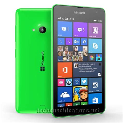 Lumia Mobile Phones by Microsoft 535 Lumia Mobile Phone Tech Specs