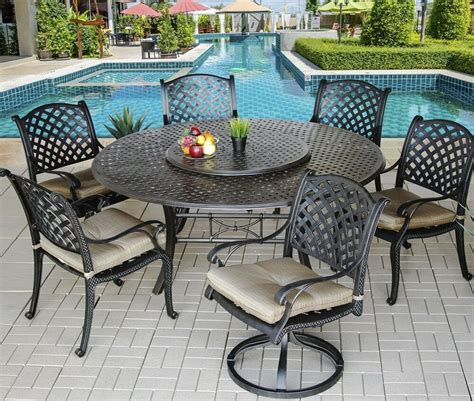 Patio Table Set 7 for 6 cast aluminum nassau outdoor patio dining