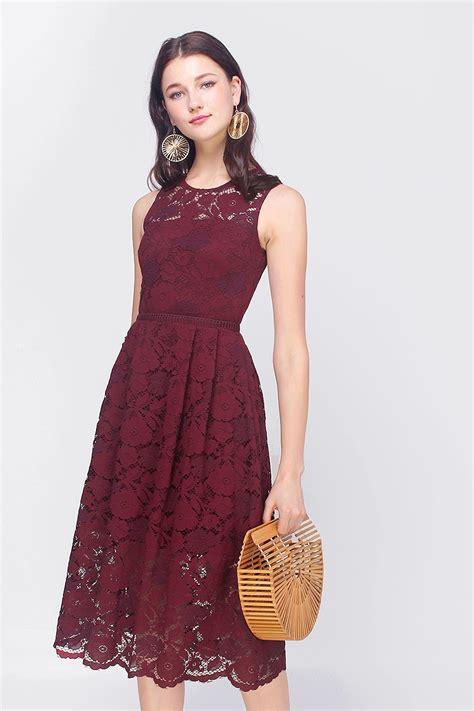 fayth stella lace midi dress