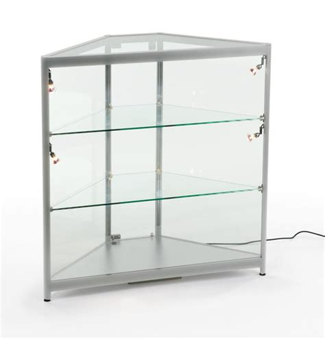 Glass Corner Case Adjustable Shelving With Silver Frame