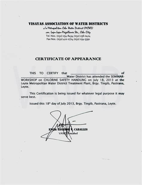 certificate of appearance template catbalogan water district