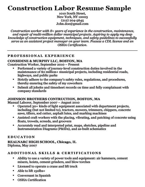 Resume For Construction by Construction Labor Resume Sle Resume Companion
