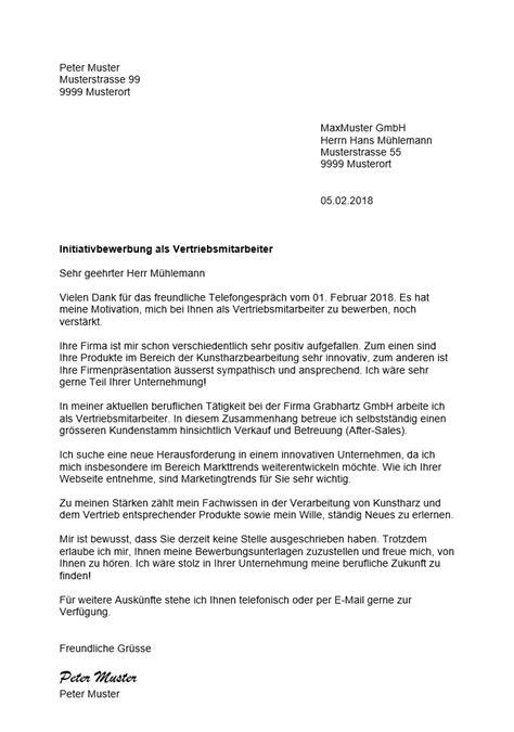 Initiativbewerbung Beispiel by Initiativbewerbung Muster Vorlage Schweiz Muster Vorlage Ch