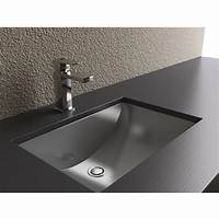 bathroom undermount sinks Bathroom-Sinks - Rectangular Shape with Curvilinear Basin - Stainless Steel with Brushed Finish ...