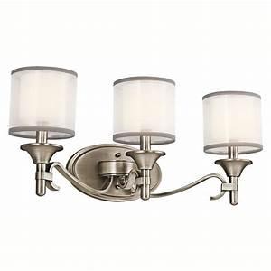 Shop kichler lighting 3 light lacey antique pewter for Bathroom lightimg