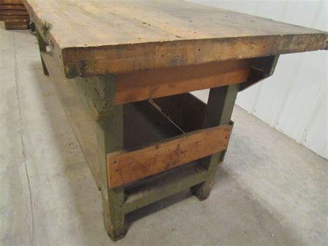 Vintage Industrial Butcher Block Workbench Table Wooden