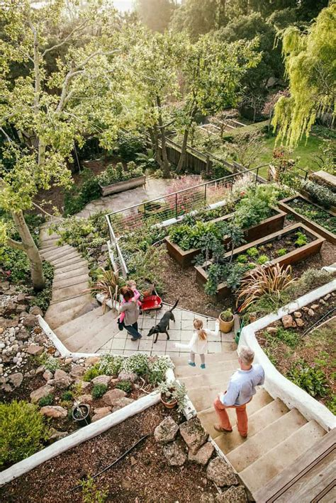 concrete dining table 20 sloped backyard design ideas designrulz