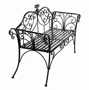 Banc En Fer : hlc banc jardin en fer forge banquette jardin en fer 133 x 49 x 90 cm ~ Preciouscoupons.com Idées de Décoration