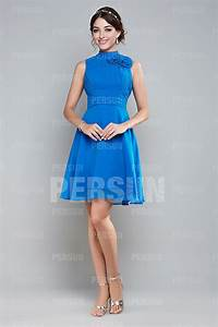 Robe Bleu Demoiselle D Honneur : robe bleu demoiselle d honneur courte col montant pliss e ~ Dallasstarsshop.com Idées de Décoration