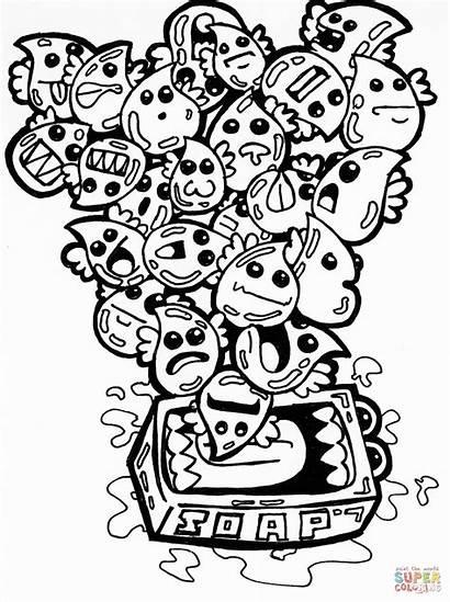 Doodle Coloring Pages Soap Bubbles Drawing Doodles