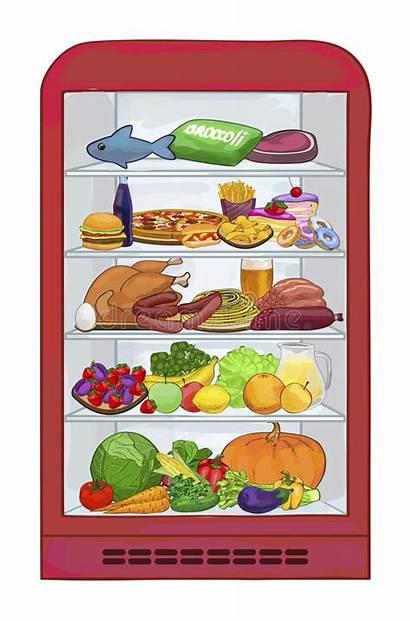 Fridge Vector Refrigerator Meat Illustration Fruits Vegetables