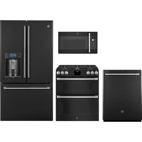 GE Cafe 4 Piece Kitchen Appliance Package with Gas Range