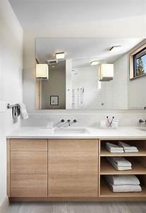 idee decoration salle de bain meuble sous lavabo salle With meuble lavabo bois massif