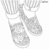 Coloring Pages Shoes Sneakers Adults Books Adult Colorful Printable sketch template