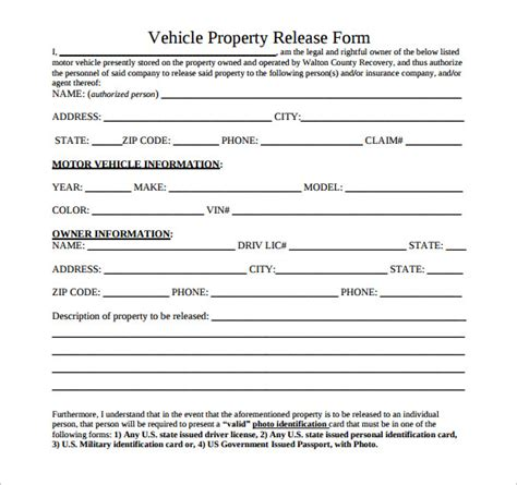 sample property release form    documents