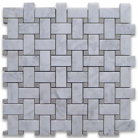 carrara basketweave carrara white 1x2x basketweave with grey dots honed marble mosaic tile