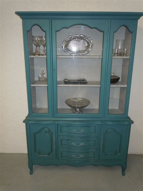 reserve french provincial china cabinet  teal