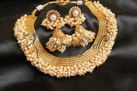 Buy Gorgeous Antique Pearl Cluster Beautiful Necklace Set Online