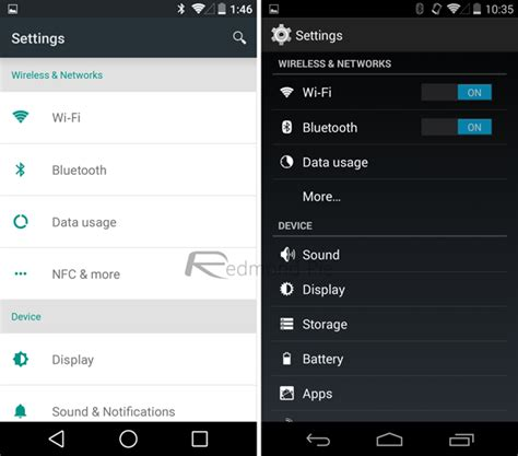 settings app for android android l preview vs android kitkat visual comparison