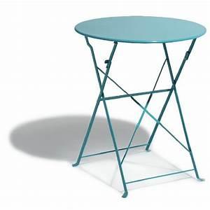 Petite Table Ronde De Jardin : table de jardin ronde pliante 2 personnes m tal bleu ~ Dailycaller-alerts.com Idées de Décoration