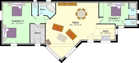Plan Maison 2 Chambres - plan maison plain pied 2 chambres plans maisons