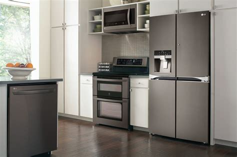 kitchen designs with stainless steel appliances lg black stainless steel offers limitless design opportunities 9356