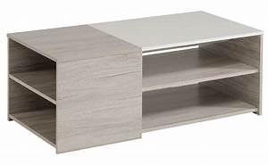 Table Basse Blanc Gris : table basse vilnus chene gris blanc brillant ~ Teatrodelosmanantiales.com Idées de Décoration
